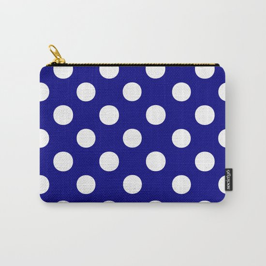 Polka Dots (White/Navy Blue) Carry-All Pouch