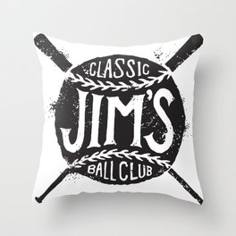 Classic Jim's Ball Club - Tshirt Throw Pillow