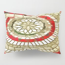 Mosaic Circular Pattern In Red and Gold Pillow Sham