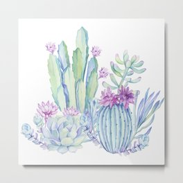 Mixed Cacti White #society6 #buyart Metal Print