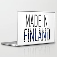 finland Laptop & iPad Skins featuring Made In Finland by VirgoSpice
