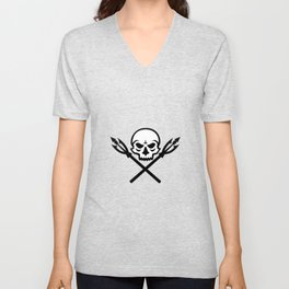 Human Skull Crossed Fishing Spear Mascot Unisex V-Neck