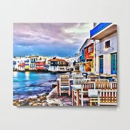 Cafe on Mykonos Beach Metal Print