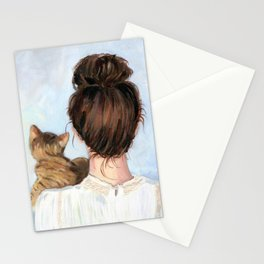 Waiting for you. Girl and tabby cat original painting. Stationery Cards