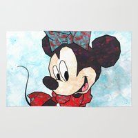 minnie Area & Throw Rugs featuring Minnie Mouse Fan Art by DanielleArt&Design
