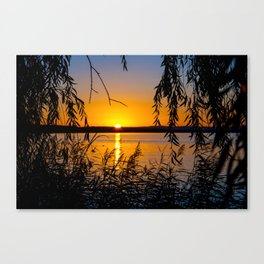 sundown at a lake Canvas Print