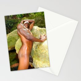 Naked caribbean man on the rocks Stationery Cards