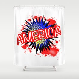 America Red White And Blue Cartoon Exclamation Shower Curtain