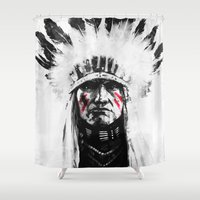 native american Shower Curtains featuring Native American by Maioriz Home