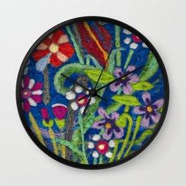 Cozy Felted Wool Flower Garden Wall Clock