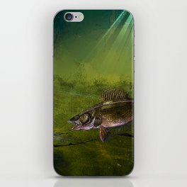 Walleye, the Chase (walleye fishing art) iPhone Skin