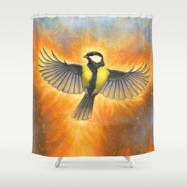 Phoenix tit bird Shower Curtain