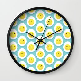 Cute hard boiled eggs Wall Clock
