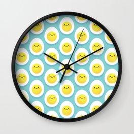 Cute hard boiled eggs Wall Clock