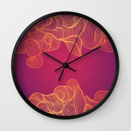 Heat Wave colorful illustrated abstract waves Wall Clock