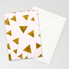 Soft Pink And Rustic Gold Triangles Stationery Cards