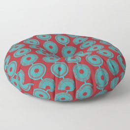 turquoise and vermilion flower Floor Pillow