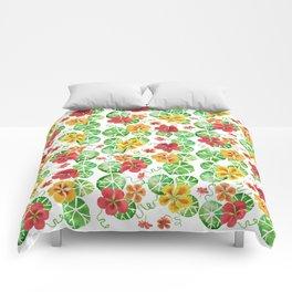 Watercolor Floral Simple Garden Nasturtium Flowers Comforters