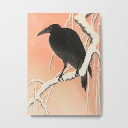 Crow in the winter - Vintage Japanese Woodblock Print Art Metal Print