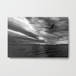 Sunset in black and white on the lake. Storm clouds. Small bird flying. Metal Print
