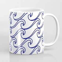 Rough Sea Pattern - blue on white Coffee Mug