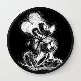 Mickey Mouse inverted Scribble Wall Clock