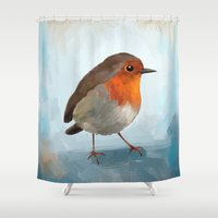 robin Shower Curtains featuring Robin by Freeminds