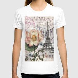 french scripts lotus floral vintage paris eiffel tower T-shirt