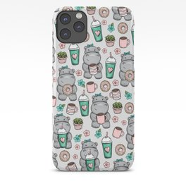 Hippo Friends, Little Hippo, Grey and Pink, Pink and Green, Donuts and Coffee, Cute Hippopotamus iPhone Case