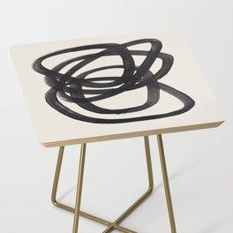 Mid Century Modern Minimalist Abstract Art Brush Strokes Black & White Ink Art Spiral Circles Side Table