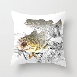 Largemouth Black Bass Fishing Art Throw Pillow