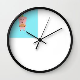 Party Pig with cake Wall Clock
