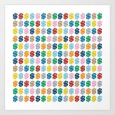 Colourful Money Repeat Art Print