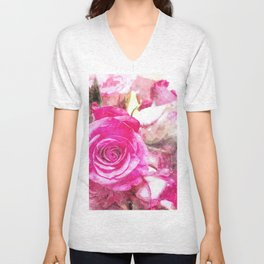 Bunch of Pink roses (watercolour) Unisex V-Neck