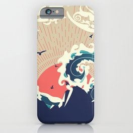 Abstract big waves of ocean and island at sunset landscape iPhone Case