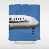 singapore Shower Curtains featuring Singapore Airlines Airbus A380 by David Pyatt