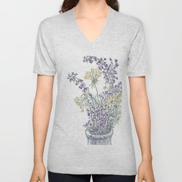 Wild Flowers Ink and Watercolor  Unisex V-Neck