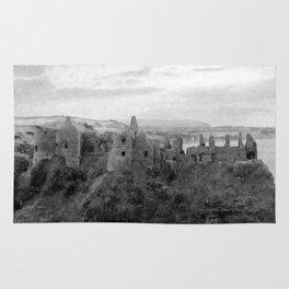 Castle Ruins | Irish Landscape | Black and White  | Halloween | Nadia Bonello Rug
