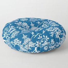 Chinoiserie Pagoda Dark blue Floor Pillow