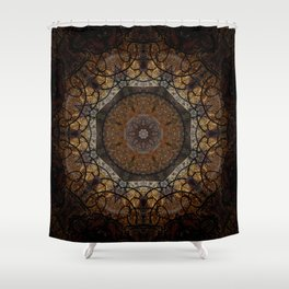 Rich Brown and Gold Textured Mandala Art Shower Curtain