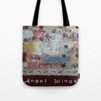 angel wings Tote Bags featuring Angel wings  by drskippyart