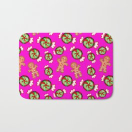 Cute lovely decorative seamless festive Christmas pattern. Happy gingerbread men and sweet candy. Bath Mat