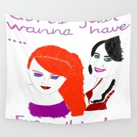 girls Wall Tapestries featuring Girls by jt7art&design