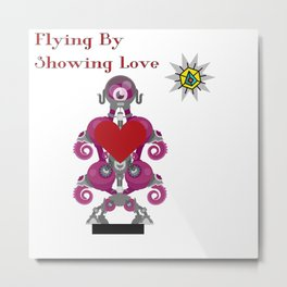 Flying By Showing Love Metal Print