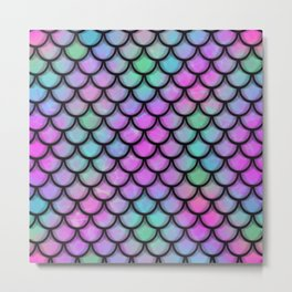 Rainbow Mermaid Scales Metal Print