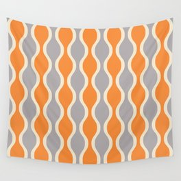 Classic Retro Ogee Pattern 852 Orange and Gray Wall Tapestry