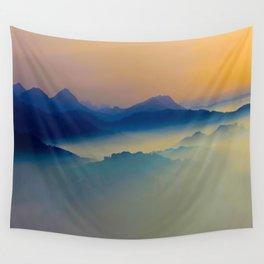 Minimalist Misty Foggy Mountain Landscape Purple Blue Turquoise Wall Tapestry