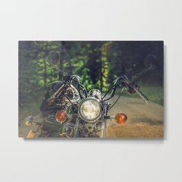 Cruiser / Chopper motorcycle in the forest Metal Print