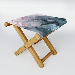 Blush and Paynes Gray Flowing Abstract Reflect Folding Stool