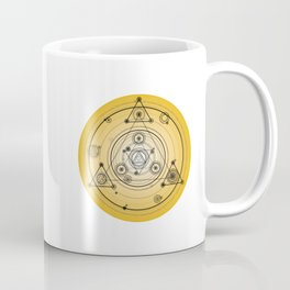 Mustard yellow distressed mandala circle with alchemy symbols Coffee Mug